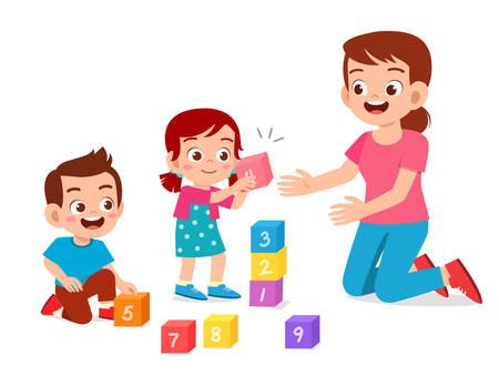 gelukkige schattige kleine kinderen jongen en meisje studeren met leraar