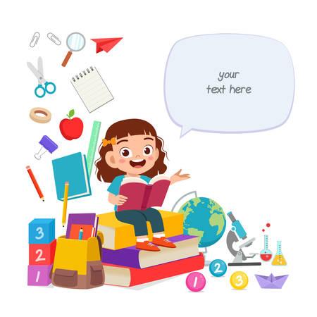 happy cute little kid girl read book Çizim