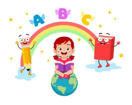 happy cute little kid girl go to school Ilustracje wektorowe