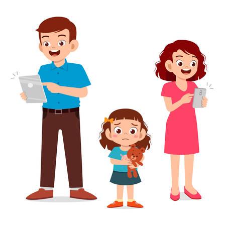 niña triste ignorada por los padres