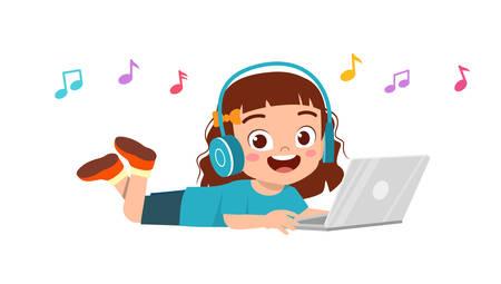 heureuse petite fille mignonne écoutant de la musique Vecteurs