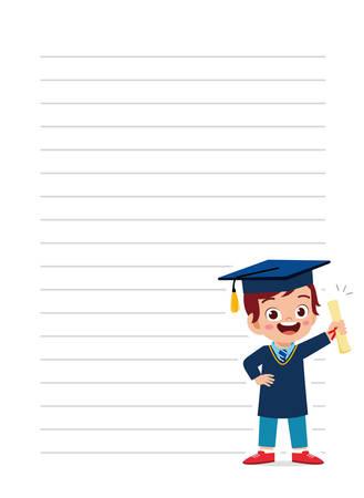 happy cute little kid boy notebook school