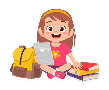 happy cute little kid boy study using tablet