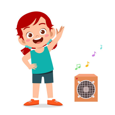 happy cute little kid girl workout with listening music