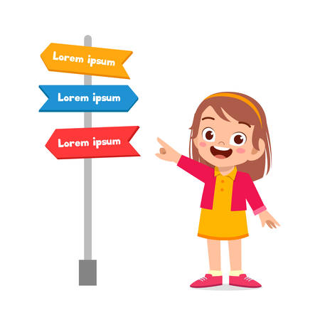happy cute little kid girl with sign arrow Ilustracja