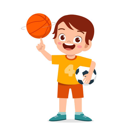 happy cute little kid boy play ball Stock Illustratie
