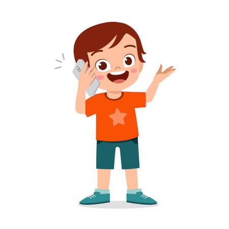 happy cute little kid boy use phone