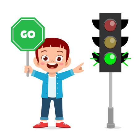 happy cute kid boy with traffic sign Standard-Bild - 140249327