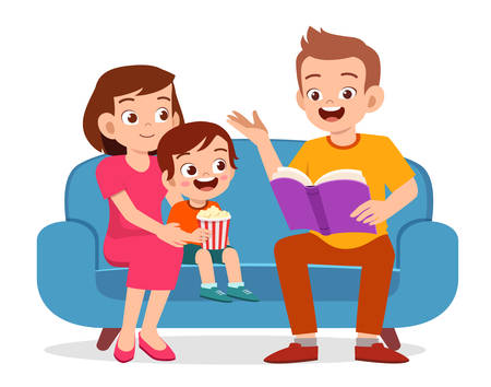 happy cute little kid boy read book with parent