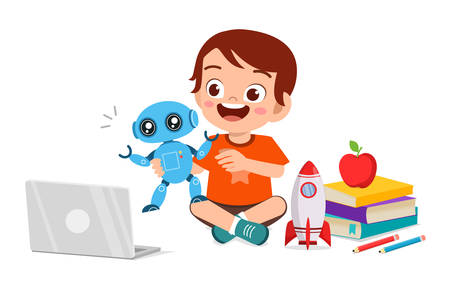 happy cute little kid boy play computer and robot Vetores