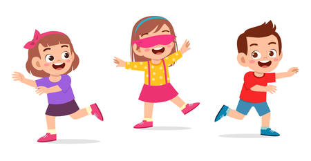 happy cute little kid boy and girl play tag blindfolded Vector Illustratie