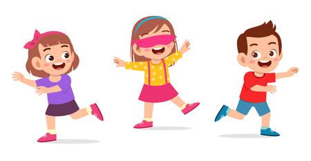 glückliches süßes kleines Kind Junge und Mädchen spielen Tag mit verbundenen Augen Vektorgrafik