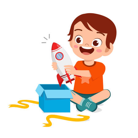 happy cute little kid boy open gift from birthday Illustration