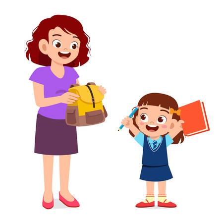 happy mother preparing bag for her kid