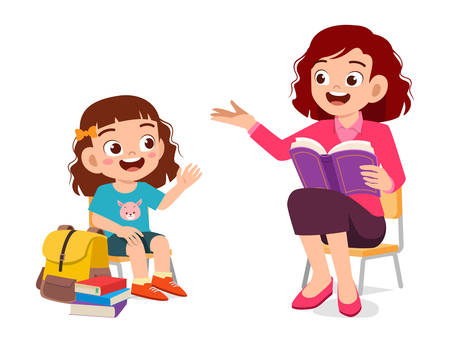 heureux enfant mignon fille écouter mère lire livre