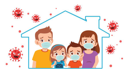 mom dad and kid stay at home during pandemic
