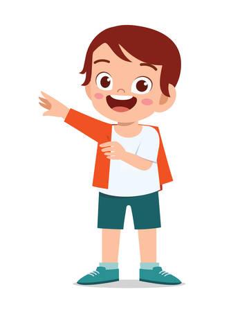 happy cute little kid boy wear a clothes