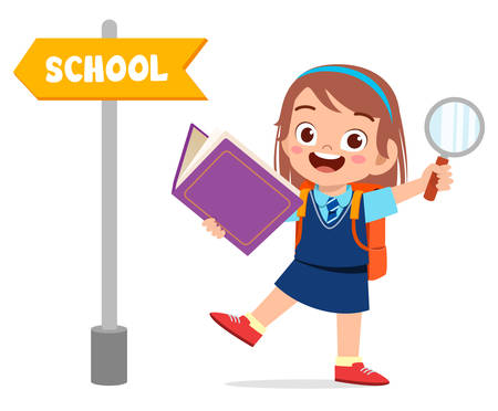 cute little kid with school direction board Ilustrace