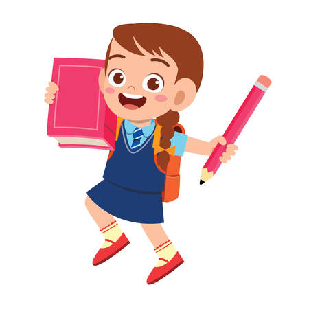 happy cute student kid girl with book and pencil Vector Illustration