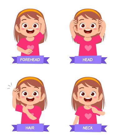 happy cute kid girl study body part anatomy