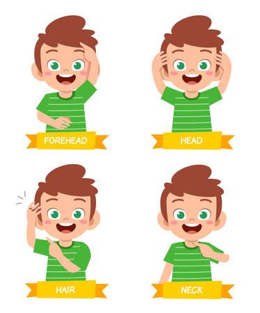 heureux mignon enfant garçon étude partie du corps anatomie