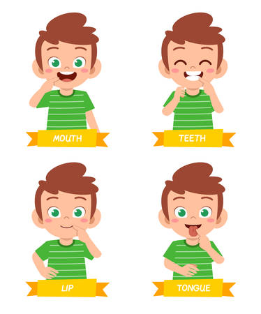 happy cute kid boy study body part anatomy Illustration