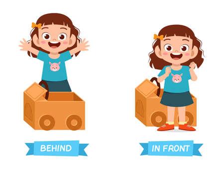 cute example of opposite word antonym for kid Vector Illustratie