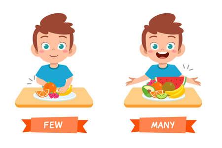 cute example of opposite word antonym for kid Vektorové ilustrace
