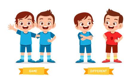 cute example of opposite word antonym for kid Vector Illustration