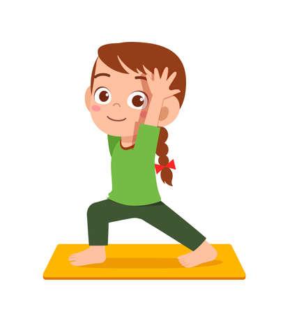 happy cute little kid boy and girl do yoga pose