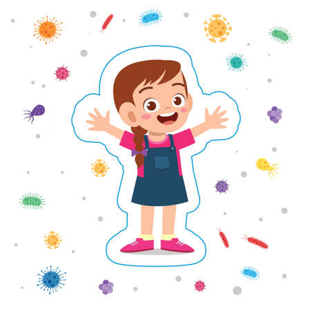 happy cute little kid girl immune protection system Illusztráció