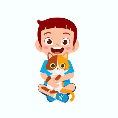 happy cute little kid boy play with pet cat Illusztráció