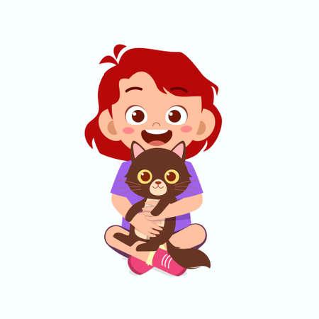 happy cute little kid girl play with pet cat Illusztráció