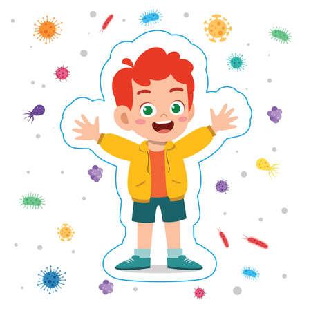 happy cute little kid boy immune protection system Illusztráció