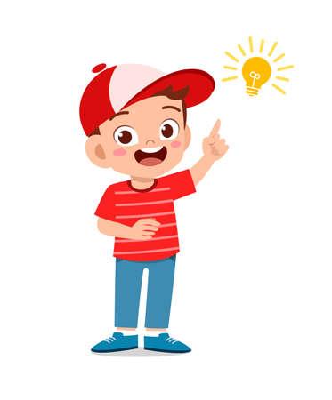 happy cute little kid boy with idea lamp sign