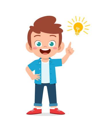 happy cute little kid boy with idea lamp sign Stock fotó - 150579151