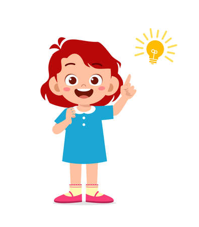 happy cute little kid girl with idea lamp sign