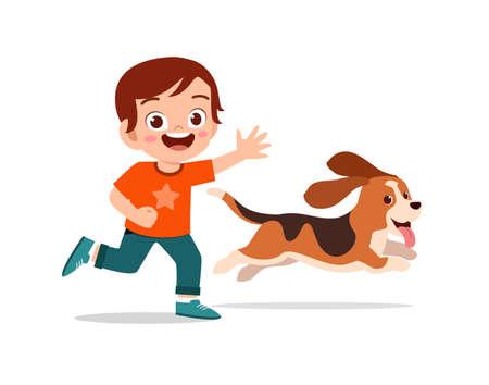 happy cute little kid boy girl play with pet dog Stock fotó - 152538388