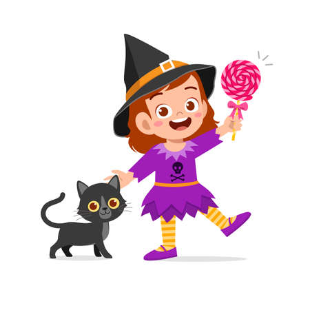 happy cute little kid boy and girl celebrate halloween wears witch costume Ilustración de vector