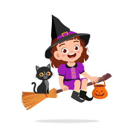 happy cute little kid boy and girl celebrate halloween wears witch costume