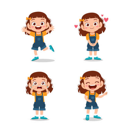 cute little kid girl pose with various expression set
