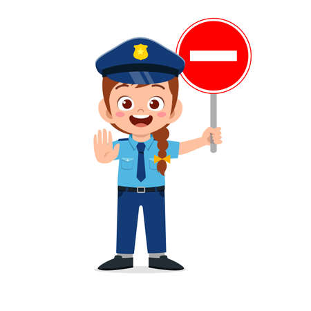 happy cute little kid girl wearing police uniform and holding stop sign Vecteurs