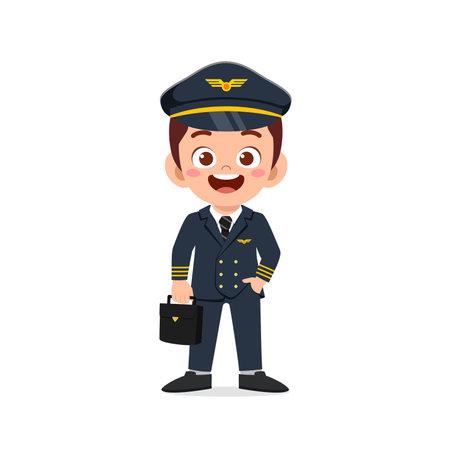 happy cute little kid boy wearing pilot uniform