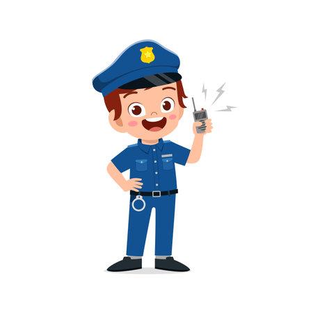 happy cute little kid boy wearing police uniform Ilustración de vector