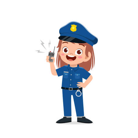 happy cute little kid girl wearing police uniform Vettoriali