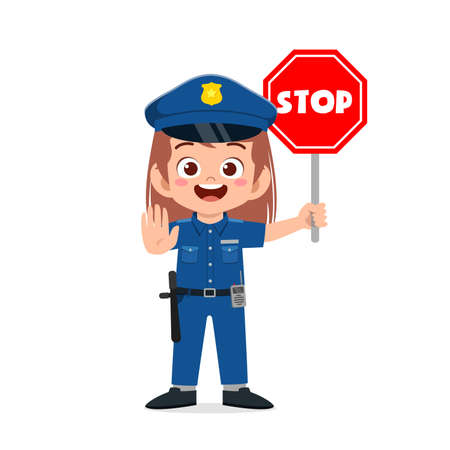 happy cute little kid girl wearing police uniform and holding stop sign Vettoriali