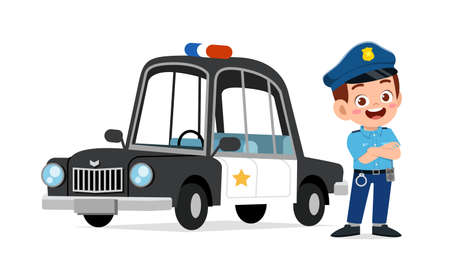 happy cute little kid boy wearing police uniform and stand beside car