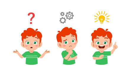 happy cute little kid boy thinking and searching idea process