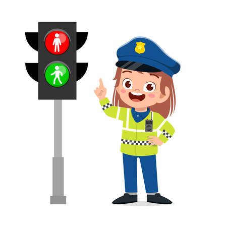 happy cute little kid girl wearing police uniform and stand beside traffic lamp