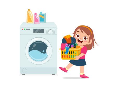 happy cute kid do laundry with washing machine Vecteurs